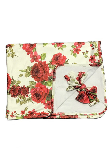 Receiving Baby Blanket with Headband - Red Floral