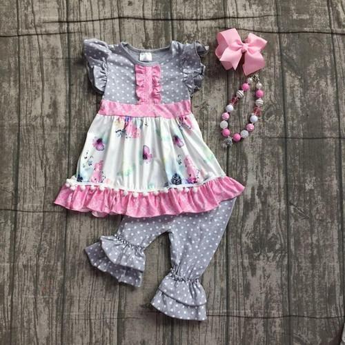 Lola Floral Capri Set - Gray & Pink