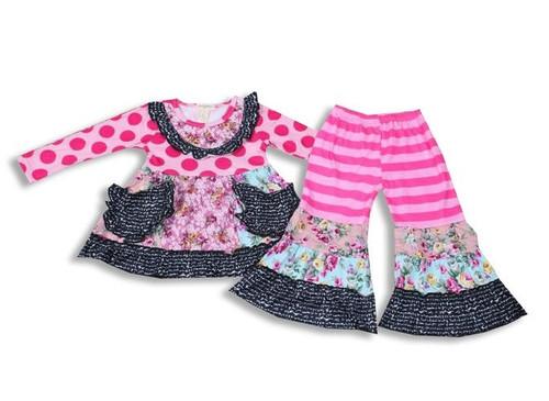 Kaylee LS Ruffle Pant Set - Pink Multi