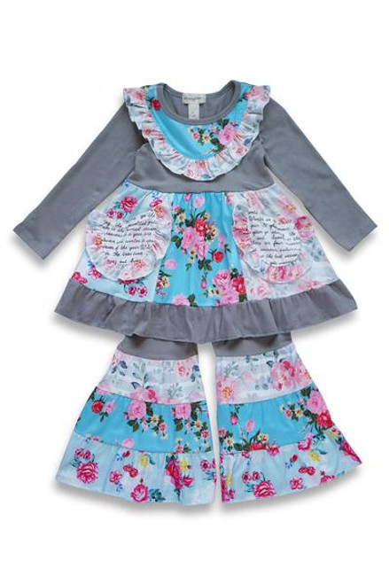 Julia LS Ruffle Pant Set - Gray Multi