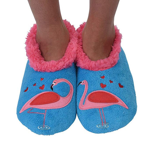 Snoozies Splitz Slippers - Flamingos