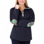 Lana Pullover - Navy with Green Plaid
