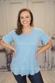 Darcie Ruffle Sleeve Top - Sky Blue