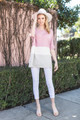 Lindsey Color Block Top - Dusty Pink