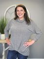 Simply Southern Cowl Knot Sweater - Heather Olive