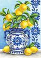 Blue Willow & Lemons Garden Flag