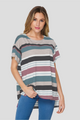 Amberlyn Striped Top - Navy & Mauve