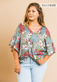 Harper Floral Ruffle Dolman Knot Top - Cool Grey