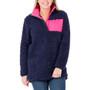 Aspen Sherpa Patch Pullover - Navy & Pink