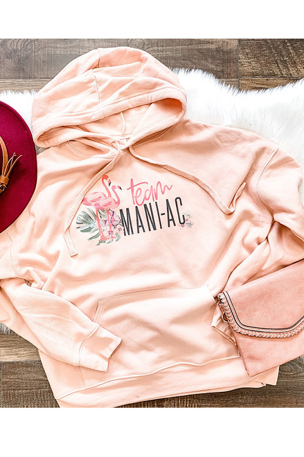 Team Mani-AC Full Front Peach Hooded Sweatshirt