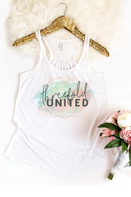 Threefold United White Racerback Tank