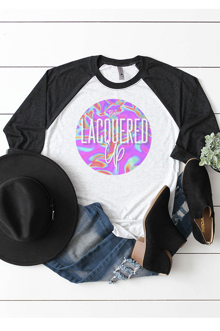 Lacquered Up Black Quarter Sleeve Tee