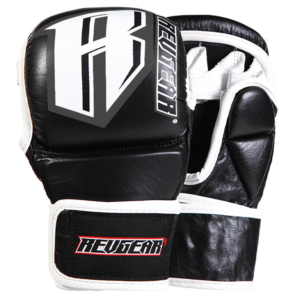 MMA Pro Leather Training Sparring Gloves - Black/Grey