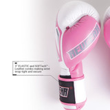 Sentinel S3 Pro Leather Gel Padded Sparring Boxing Gloves - White/Pink