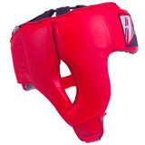 Open Face Leather Headgear - Red