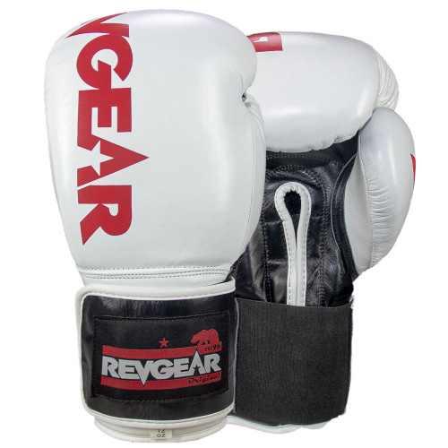 Sentinel S3 Pro Leather Gel Padded Sparring Boxing Gloves - White/Black