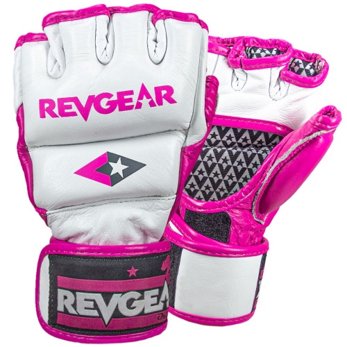 Pro Series Deluxe Pro Leather MMA Gel Sparring Gloves - White/Pink