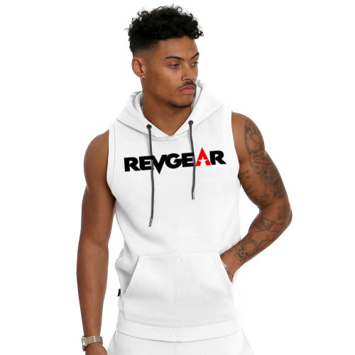 Sleeveless Pullover Hoody - White