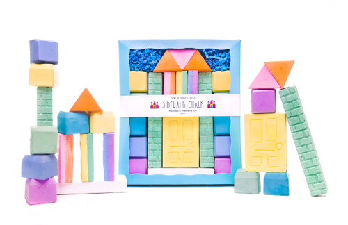 Let your child's imagination and creativity soar with this set ofcastle shaped building block chalk pieces!