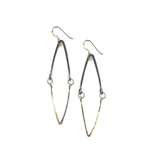 Hand-formed Brass and Gold filled Diamond Hinged Earring