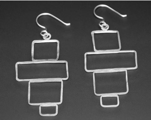 Bricks Sterling Silver Earrings