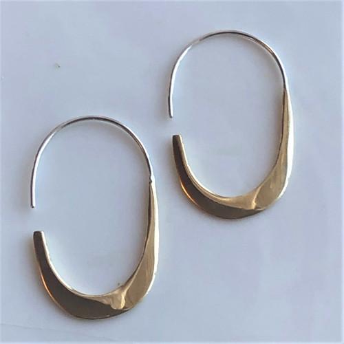 Brass with Sterling Silver Elliptical Hoop Earrings