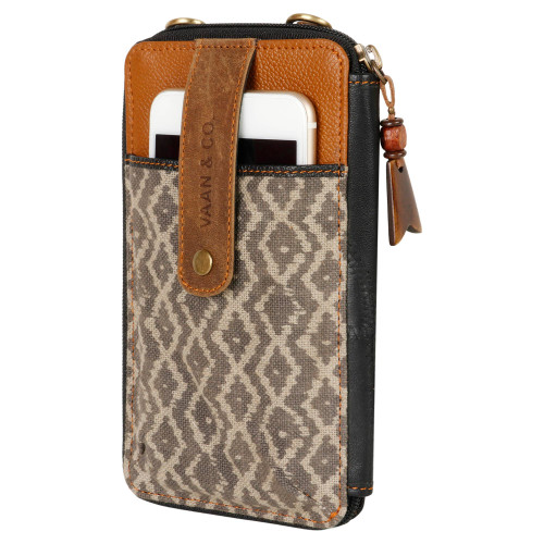 Cross Body Mobile Wallet from Upcycled Genuine Leather