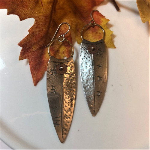 Spear-Shaped Sterling Silver Earrings with Copper Accents