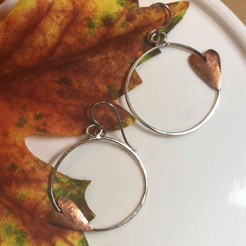 Sterling Silver Hoop Earrings with Copper Hearts