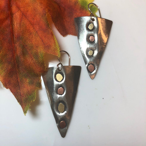 Sterling Silver Triangle Earrings Dotted with Copper and Bronze