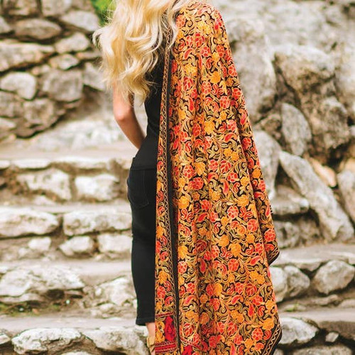 Autumn Embroidered Wool Shawl