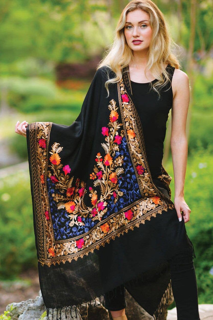 Black and Sapphire Karuna  Embroidered Wool Shawl