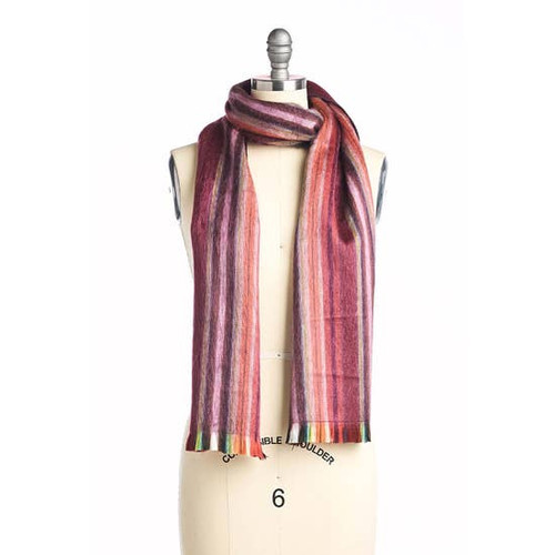 Pomegranate Alpaca Striped Scarf