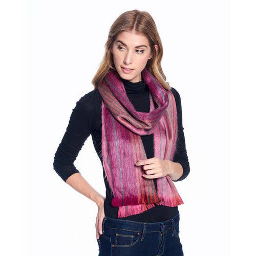 Cosmic Berry Striped Alpaca Scarf