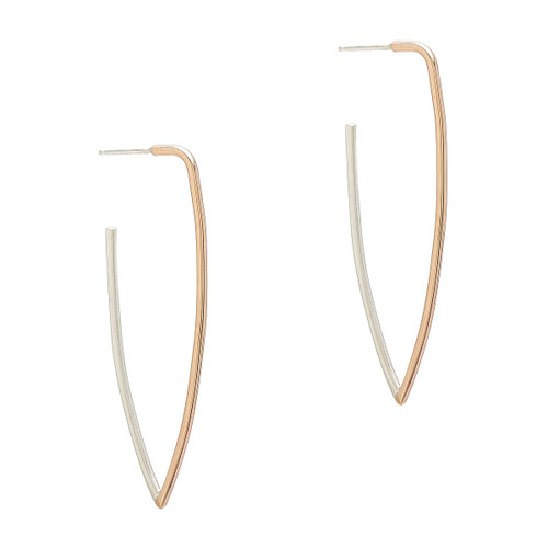 Gold Fill and Sterling Pointed Hoop Post