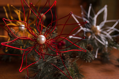 Poinsettia Handmade Wire Tree Topper/Door Decor