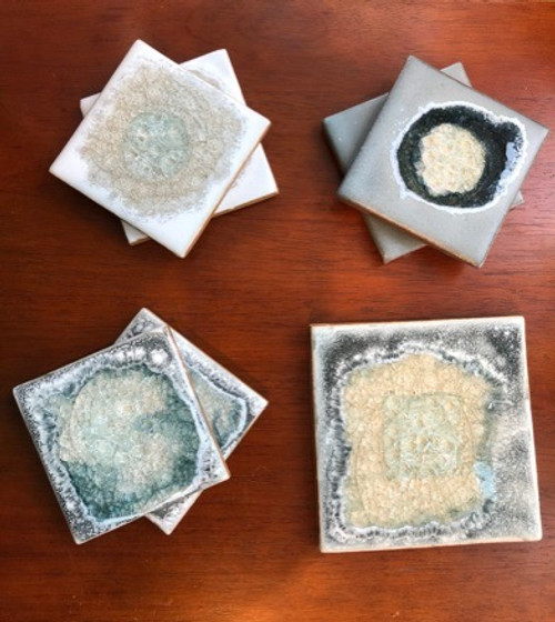 Geode Crackle Glass Coaster or Trivet in Grey and White Neutrals