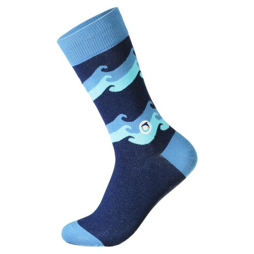 Socks that protect oceans.  Make waves supporting healthy oceans: These socks feature crashing waves in shades of blue and the Oceana logo embroidery. Each pair supports Oceana and their work to restore oceans and save marine life.