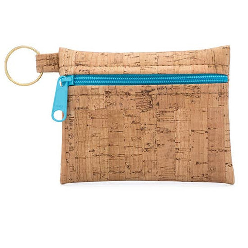 Handmade Eco-friendly Cork Zip Pouch Keychain