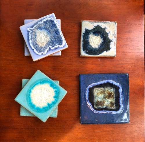 Geode Crackle Glass Coaster or Trivet in Blues