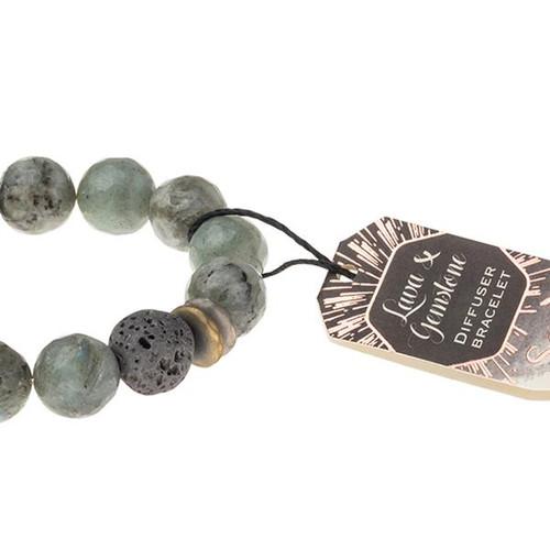 Lava & Gemstone Diffuser Bracelet - Labradorite