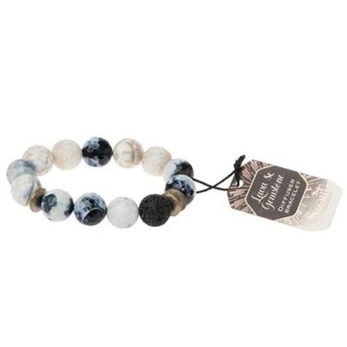 Lava & Gemstone Diffuser Bracelet - Marble