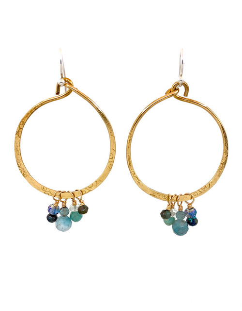 Multi-Stone Cluster Hoop Earrings