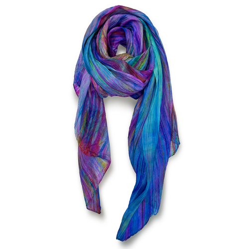 """Skinny"" Hand-dyed Watercolor Scarf in Pure Silk - Prisma"