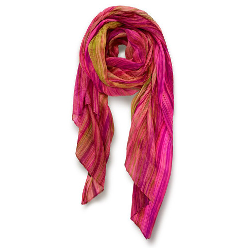"""Skinny"" Hand-dyed Watercolor Scarf in PureSilk - Pink Moss"