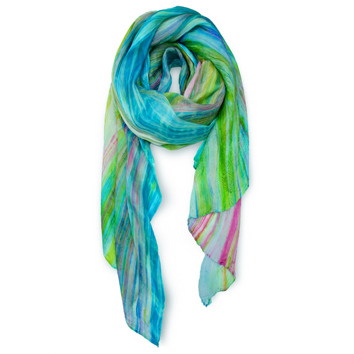 """Skinny"" Hand-dyed Watercolor Scarf in Pure Silk - Wild Floral"