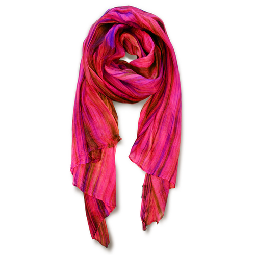 """Skinny"" Hand-dyed Watercolor Scarf in Pure Silk - Magenta"