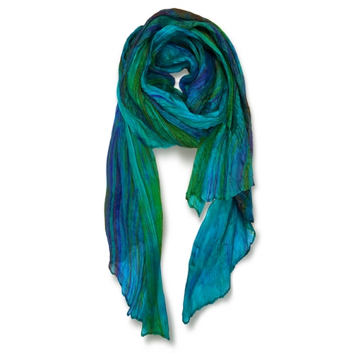 """""""Skinny"""" Hand-dyed Watercolor Scarf in Pure Silk - Turq Blue"""