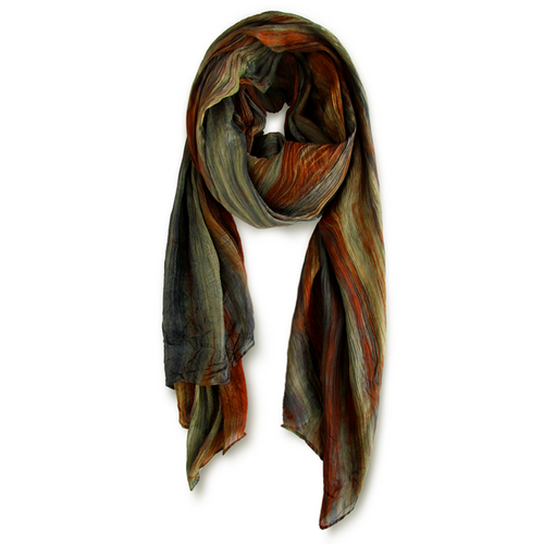 """Skinny"" Hand-dyed Watercolor Scarf in Pure Silk - Clay"