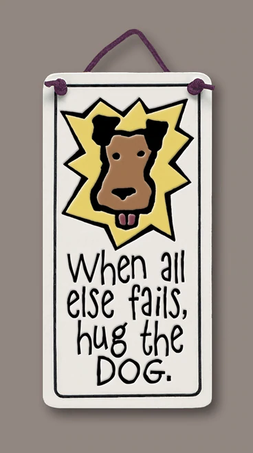 Handmade Ceramic Tiles - Hug the Dog
